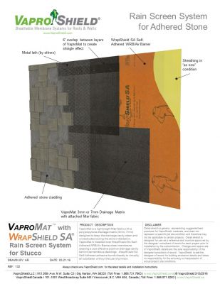 Rain Screen System for Adhered Stone and Gypsum with VaproMat