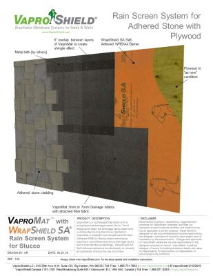 Rain Screen System for Adhered Stone and Plywood with VaproMat