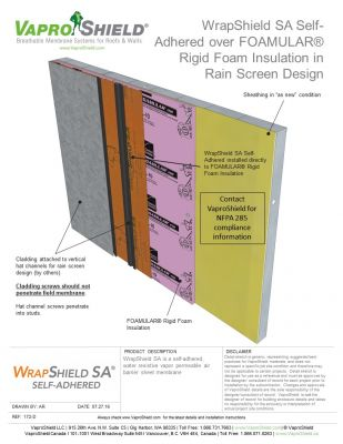 WrapShield SA over FOAMULAR in Rain Screen Design