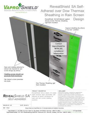 RevealShield SA over Dow Themax Sheathing in Rain Screen Design
