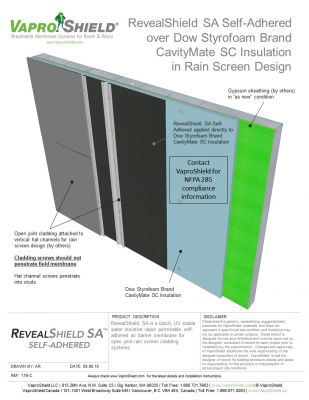 RevealShield SA over Dow Styrofoam CavityMate in Rain Screen Design