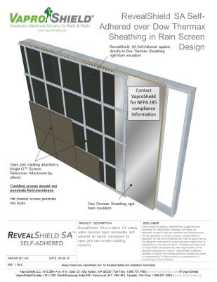 RevealShield SA over Dow Themax Sheathing in Rain Screen Design Without Gypsum Sheathing