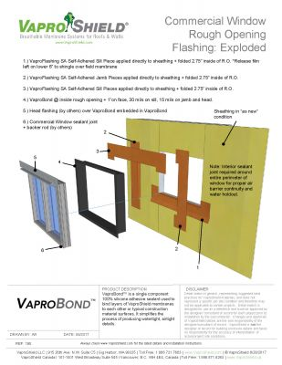 Commercial Window Rough Opening Flashing (Exploded with VaproBond)