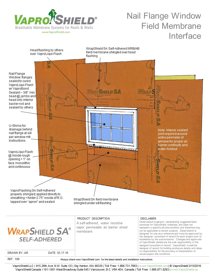 Nail Flange Window Field Membrane Interface with WrapShield SA