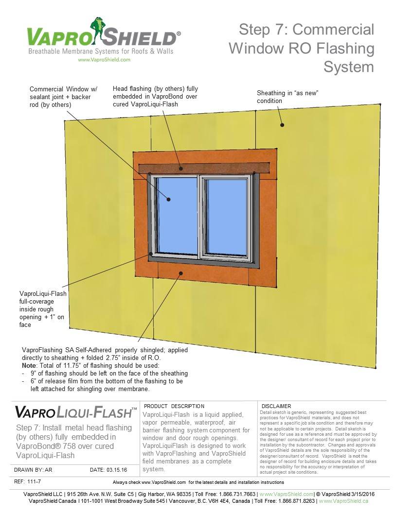 Commercial Window Rough Opening Flashing System Sequence with WrapShield SA
