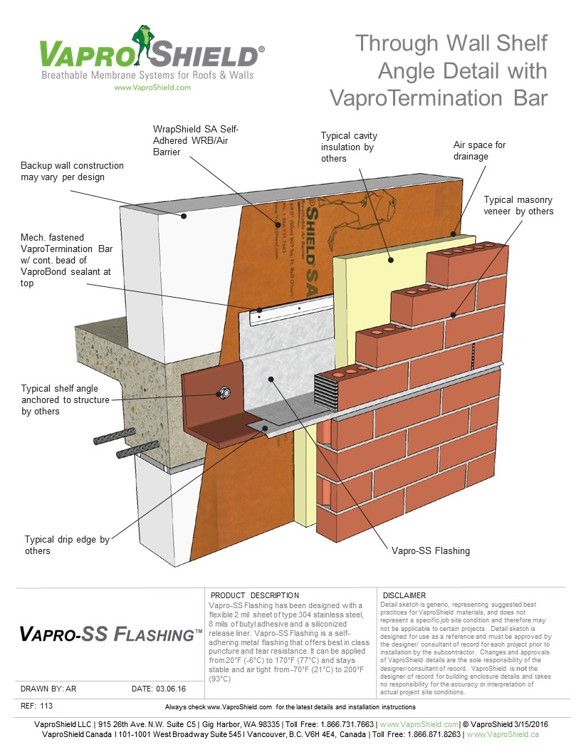 Through Wall Shelf Angle Detail with VaproTermination Bar