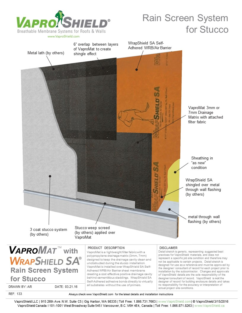 Rain Screen System for Stucco and Gypsum with VaproMat