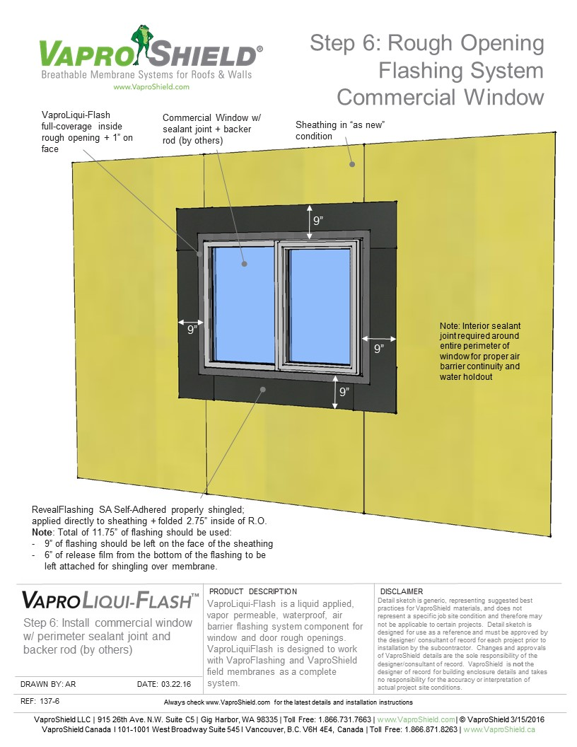 Rough Opening Flashing System with RevealShield SA: Commercial Window