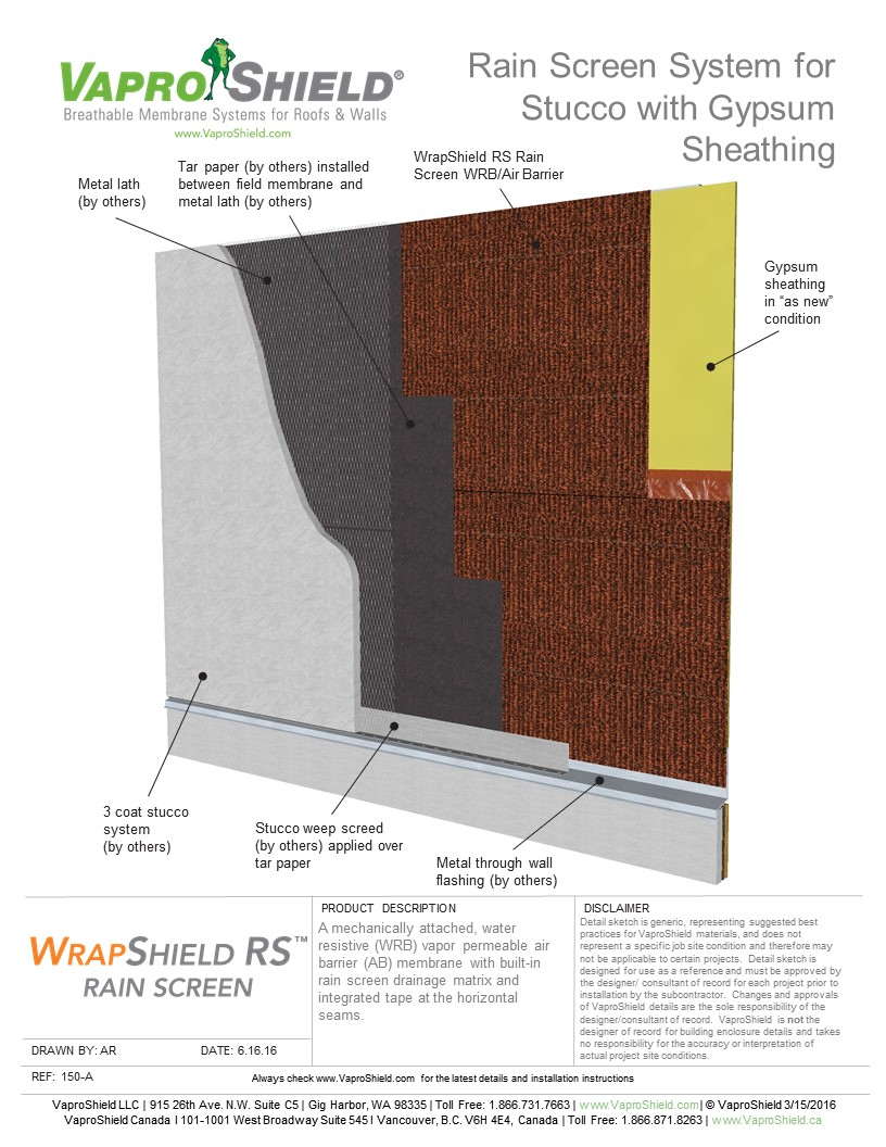Rain Screen System for Stucco and Gypsum with WrapShield RS