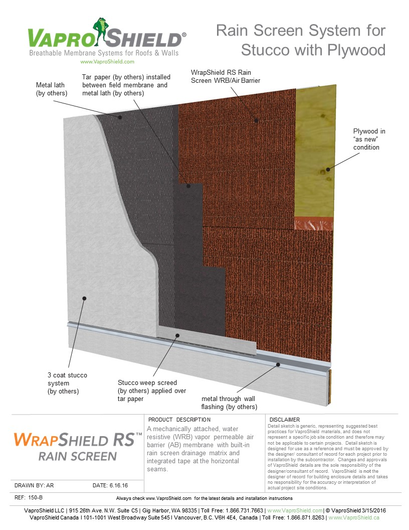 Rain Screen System for Stucco and Plywood with WrapShield RS