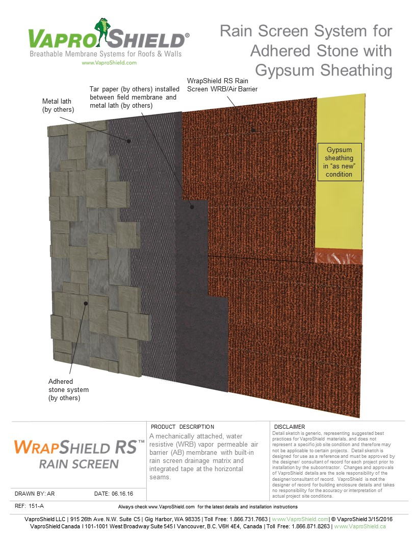 Rain Screen System for Adhered Stone and Gypsum with WrapShield RS