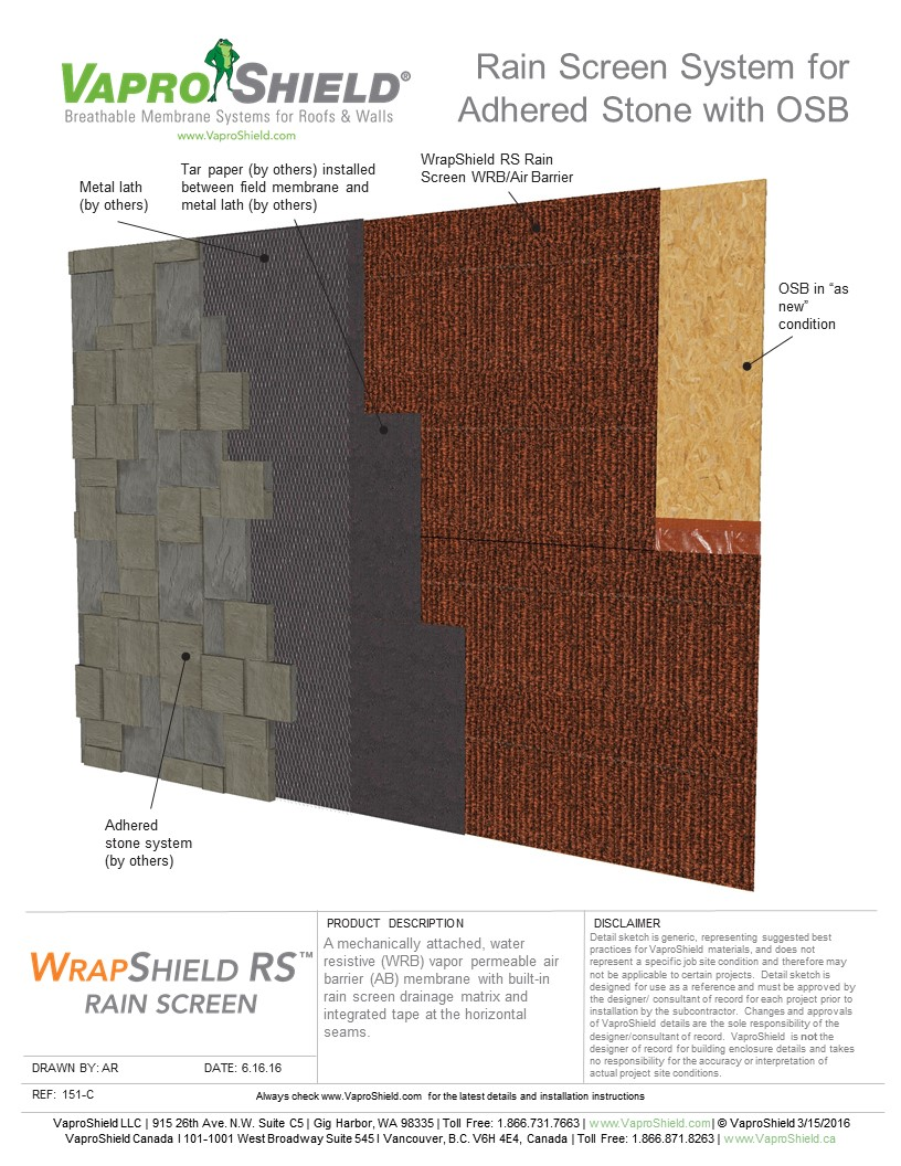 Rain Screen System for Adhered Stone and OSB with WrapShield RS