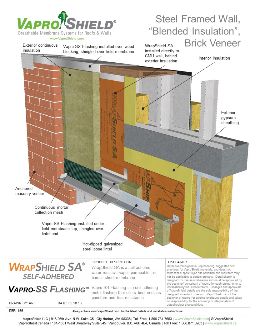 Steel Framed Wall, Blended Insulation, Brick Veneer