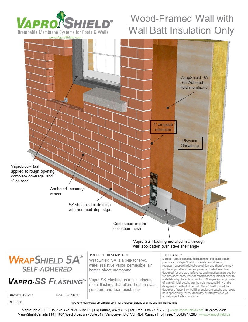 Wood-Framed Wall with Wall Batt Insulation Only