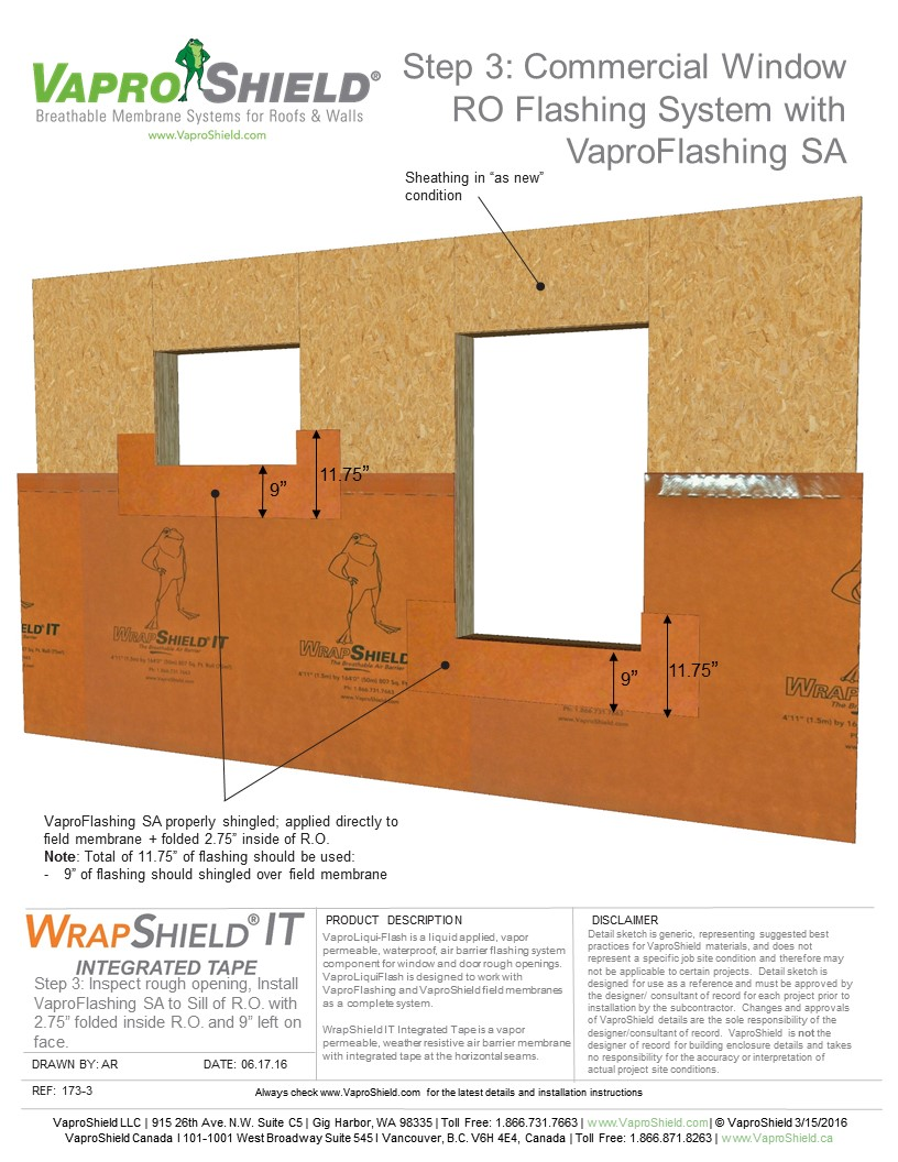 Commercial Window RO Flashing System with WrapShield IT and VaproFlashing SA