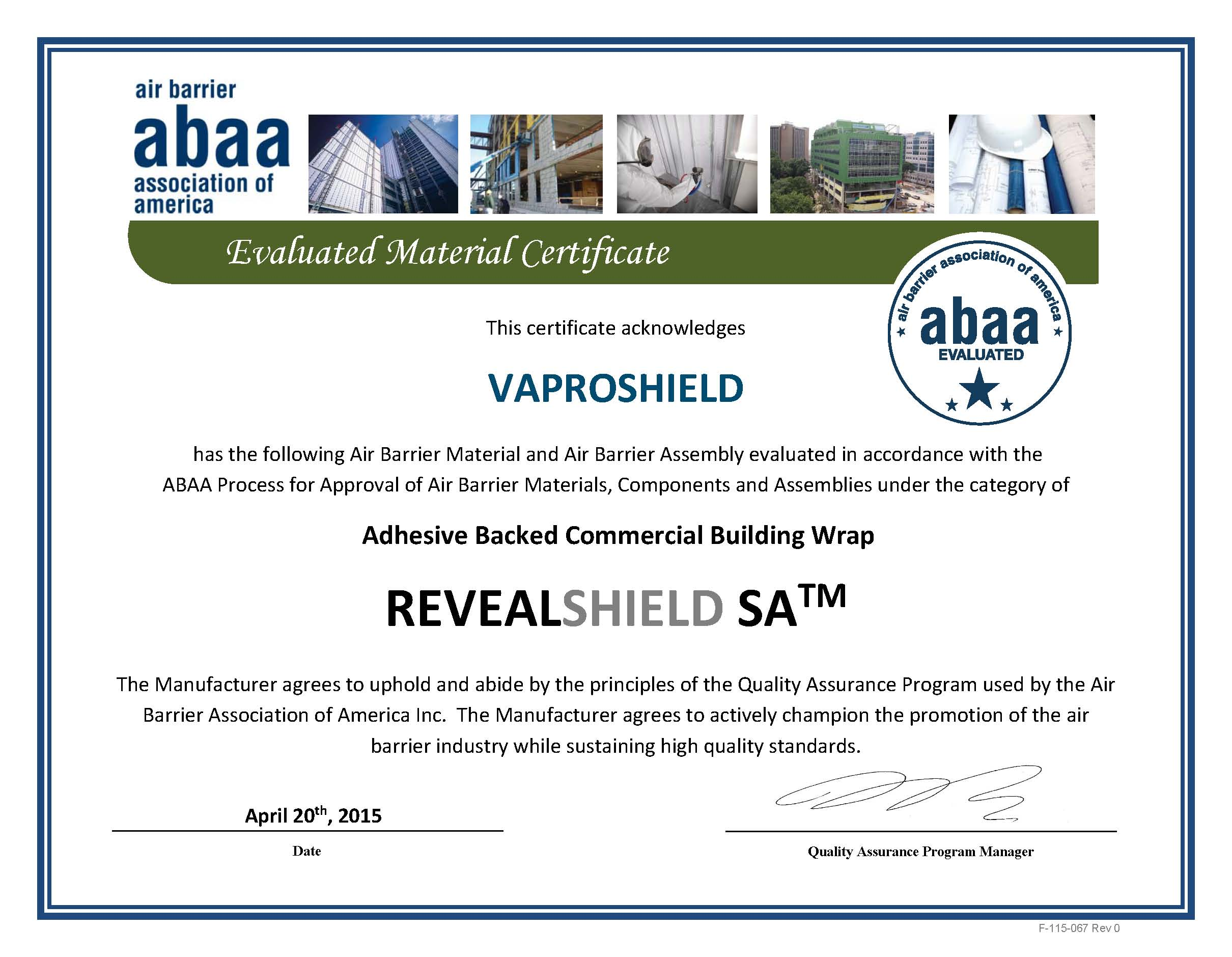 ABAA Air Barrier Material Evaluated Certificate vaproshield revealshield