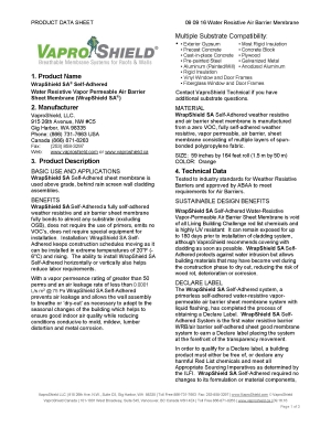 WrapShield SA Self Adhered Product Data 111116 Page 1
