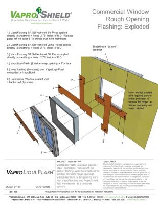 Commercial Window Rough Opening Flashing with WrapFlashing SA and VaproLiqui-Flash: Exploded