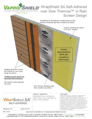 WrapShield SA over Dow Thermax in Rain Screen Design