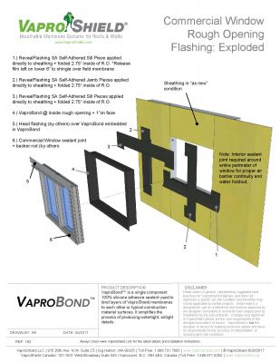 Commercial Window Rough Opening Flashing with VaproBond and RevealFlashing SA (Exploded)