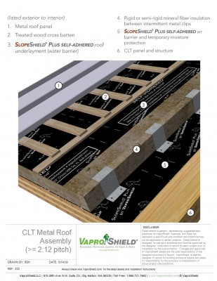 CLT Pitched Metal Roof Assembly