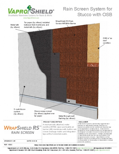 Rain Screen System for Stucco and OSB with WrapShield RS