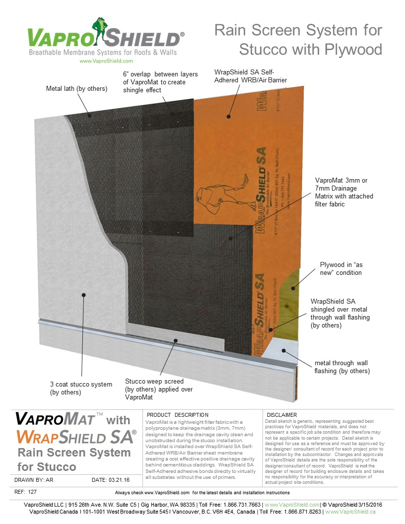 Rain Screen System for Stucco and Plywood with VaproMat