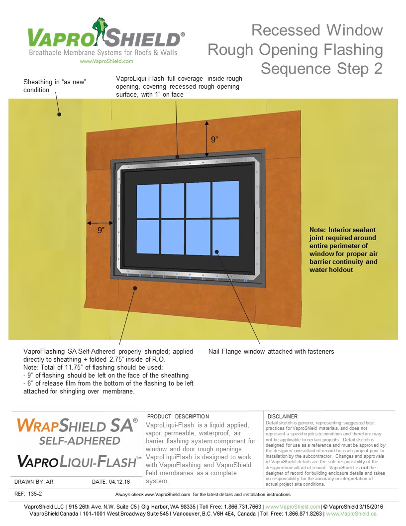 Recessed Window Rough Opening Flashing Sequence