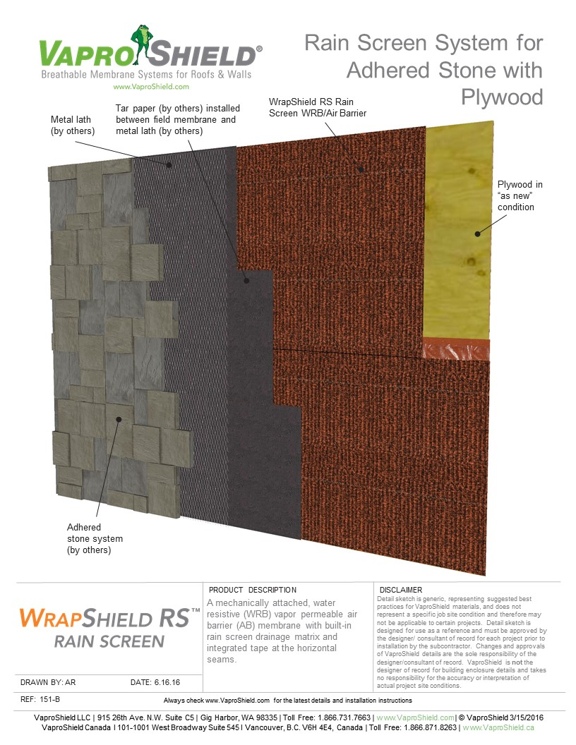 Rain Screen System for Adhered Stone and Plywood with WrapShield RS